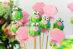 """The princess needs to kiss the frog for it to become a prince! This is the """"kiss the frog"""" corner in a pricess birthday party."""