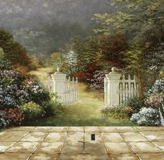 Beautiful Garden Wall Murals Painting. Note the wall plug.