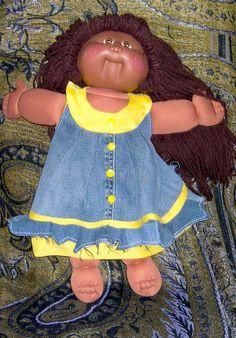 Denim doll dress made out of an old denim skirt <3