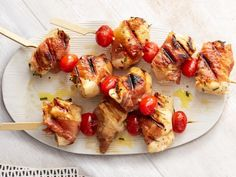 Prosciutto-Wrapped Chicken Kebabs recipe from Food Network Kitchen via Food… Summer Appetizer Recipes, Appetizers, Dinner Recipes, Summer Recipes, Picnic Recipes, Prosciutto Wrapped Chicken, Bacon Wrapped, Chicken Kabobs, Grilled Chicken