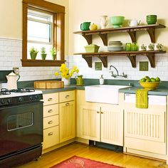 I would get tired of yellow cabinets, but there are several elements I love about this kitchen.