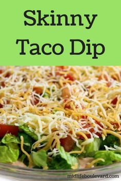 Taco Dip recipe for National Taco Day or sports snacks for the big game.