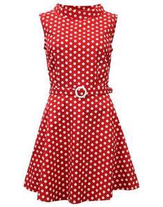 MADCAP ENGLAND Retro 1960s Mod Polkadot MIni Belt Dress in Red