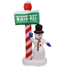 "LB Int'l 6' Inflatable Lit Snowman with ""North Pole"" Xmas Yard Décor"