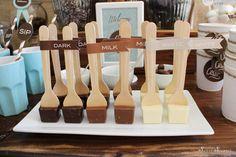 Wooden spoons and chocolate at a Hot Cocoa Bar #hotcocoa #bar