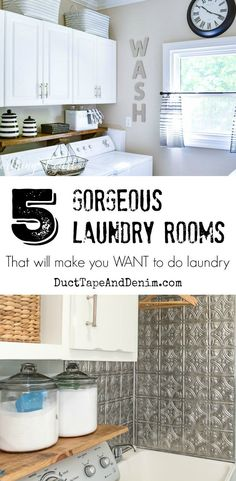 5 Gorgeous Laundry Rooms that will make you WANT to do laundry   DuctTapeAndDenim.com #gorgeouslaundryrooms #laundryroom #laundryrooms #laundryroommakeovers #budgetroommakeovers #farmhousestyle