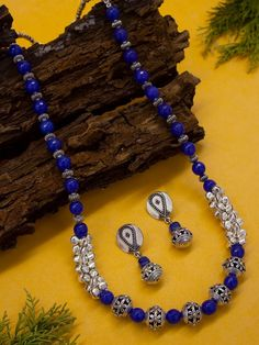 Oxidised German Silver Blue Onyx Beads Long Ghungroo Necklace Set By Purple – Jumkey Fashion Jewellery Jewelry Design Earrings, Bead Jewellery, Necklace Designs, Boho Jewelry, Beaded Jewelry, Handmade Jewelry, Silver Jewelry, Beaded Necklaces, Nice Jewelry