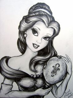 B&W Belle with magic mirror