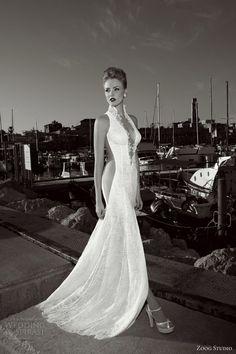 zoog studio 2013 bridal sleeveless halter collar sexy wedding dress sheer insert