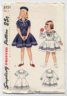 Adorable Vintage 1940s Girls SAILOR Middy DRESS Sewing Pattern-Nautical Navy Design Vestee & Collar-Simplicity 3151, Childs Size 5-UNUSED!