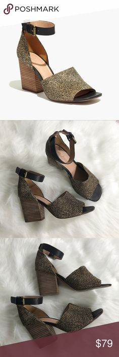 """Madewell The Alena Sandal in Dotted Calf Hair EUC. No box. Worn twice. Run slightly big. May also fit a 6.5.!Crafted with textural calf hair, this ankle-strap sandal has a sculptural stacked heel that is as comfortable as a wedge but way more sleek. So perfect for these no-longer-hot, not-yet-cold days.   3 7/20"""" heel. Calf hair, leather upper. Leather lining. Man-made sole. * Price is firm* Madewell Shoes Heels"""