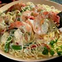 Angel Hair Pasta with Shrimp and Vegetables.