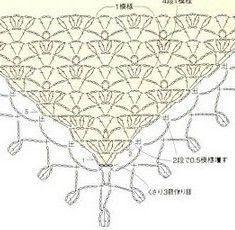 "Receita 2 ""Patterns and motifs: Crocheted motif no."", ""Crochet pattern for a triangular shawl"", ""*Love border for other rectangular shawls. Crochet Scarf Diagram, Poncho Au Crochet, Bonnet Crochet, Crochet Shawls And Wraps, Crochet Motifs, Crochet Chart, Crochet Scarves, Crochet Clothes, Crochet Lace"