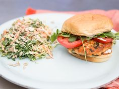 Salmon Burgers with Lemon-Caper Aioli and Kale Slaw (Katie Lee) Key Ingredient Recipes Slaw Recipes, Salmon Recipes, Fish Recipes, Seafood Recipes, Healthy Recipes, Recipies, Healthy Foods, Fish Dishes, Seafood Dishes