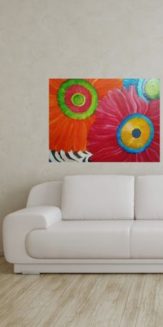 Colorful flowers Gerbera Daisies Painting   20 by SharonFosterArt, $165.00