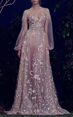 True story, the Hamda Al Fahim FW 2016 Wedding Dress Collection made us audibly *gasp* like five times. These gowns are straight out of a fairytale and are the epitome of Dress Flower, Fairy Dress, Pink Floral Maxi Dress, 2016 Wedding Dresses, Princess Wedding Dresses, Dresses 2016, Dress Vestidos, Style Couture, Prom Dresses With Sleeves