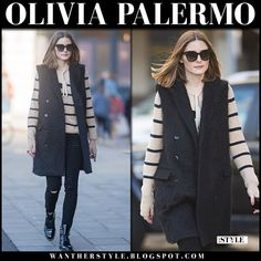 Olivia Palermo in striped sweater, black sleeveless coat and black patent boots