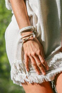 Peacebird Leather Bracelet Lace Peace Bird - White
