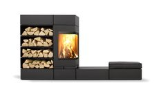 Elements 5kw log burning stove, designed by Prof. Wulf Schneider & Partner for Skantherm, Germany. Stove featuring modular stove furniture, including log storage, seating elements and Thermostone heat retentive modules, which gently release heat long after the flames have died away. Top or rear flue connection, with built in optional external air.