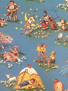 Reversible Vintage Wrapping Paper - Carnival & Nursery Rhyme