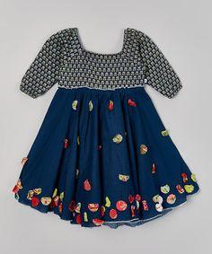 Little Handprint Navy Kamal Hariette Dress - Toddler & Girls Toddler Girl Dresses, Toddler Girls, Cute Girls, Little Girls, Patterned Dress, Little Fashion, Baby Things, Pretty Little, Skater Skirt
