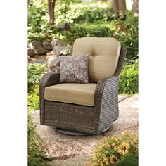 Better Homes and Gardens Outdoor Wicker Swivel Glider Lounge Chair for $200 moves into the house or apartment for cozy and affordable seating.