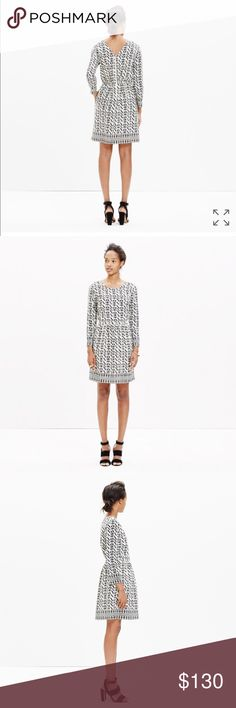 """Madewell Geometric Silk Dress A simple Madewell silk dress with a cool exposed back zip. The bold geometric print was inspired by African textiles. Waisted. Falls 36"""" from shoulder. Silk. Only worn once. Madewell Dresses Long Sleeve"""