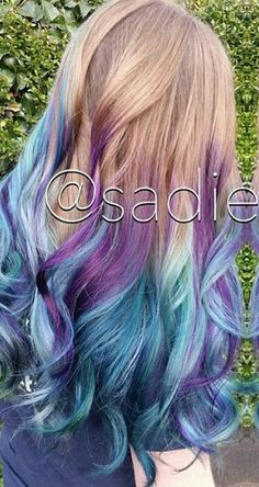 Blue and purple dyed hair