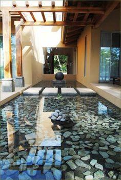 27 idéés pour le bassin de jardin préformé , hors sol + - contamporain-bassin-de-jardin-au pierre