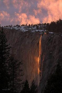 Yosemite National Park, California...fire waterfall..
