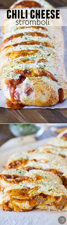 Change up your pizza routine with this Chili Cheese Stromboli! Pizza dough is packed with chili and lots of cheese, then rolled and baked for a fun dinner idea.