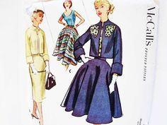 1950s Dress Pattern UNCUT Misses size 16 Bust 34 Womens Suit Pattern Scoop Neckline Top Slim or Flared Skirt Dress with Bolero Jacket by PatternsFromThePast