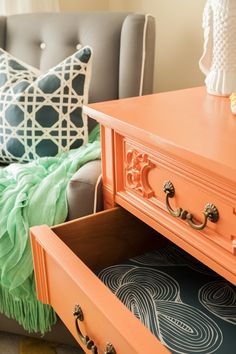 Line dresser drawers with wallpaper - YES!