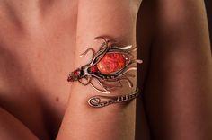 Fleur-De-Lis Copper Bracelets Red