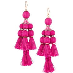 Kate Spade New York Pretty Poms Tassel Statement Earrings (Pink)... ($98) ❤ liked on Polyvore featuring jewelry, earrings, tassel earrings, kate spade jewelry, pink jewelry, earring jewelry and french hook earrings