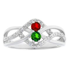 Personalized Diamond 2-Stone Birthstone Infinity Ring In White Gold