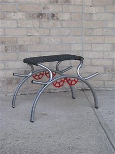 Make a Foot Stool out of bicycle parts. For more great pics, follow www.bikeengines.com
