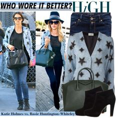 """""""Who Wore It Better: Katie Holmes vs. Rosie Huntington-Whiteley in SAINT LAURENT star print cardigan?"""" by kusja on Polyvore"""