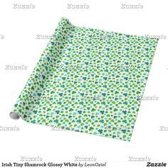 Shop Irish Tiny Shamrock Glossy White Wrapping Paper created by LeonOziel. White Wrapping Paper, Custom Wrapping Paper, Picnic Blanket, Outdoor Blanket, Colorful Backgrounds, Party Supplies, Irish, Wraps, Gift Wrapping
