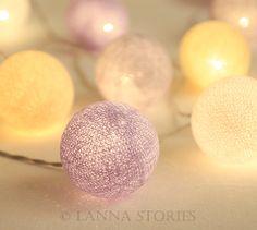 Lavender Pastel Cotton Ball Patio Party String Lights – Fairy, Wedding, Decor