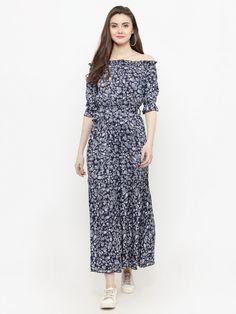 92787aa377e Buy Sera Women Navy Blue Printed Maxi Dress - Dresses for Women