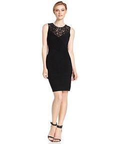 Calvin Klein Dress, Sleeveless Lace Banded Cocktail - Calvin Klein Dresses - Women - Macy's