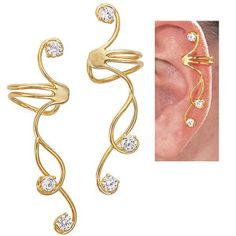 Pair of 14K Gold Over Sterling CZ Ear Cuffs - Earrings, Necklaces, Rings, Bracelets, Pendants and More - Unique Jewelry at Affordable Prices | Nature's Jewelry