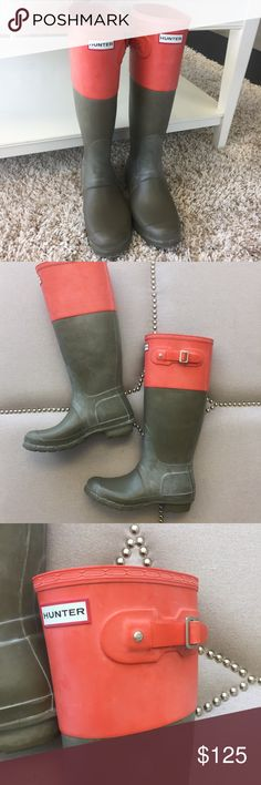 Olive Green and Pink Hunter Boots Hunter boots are amazing! These are a unique pair that can go with a lot of different outfits. There is a light white film that is normal for rain boots with this material - treatments can be found to get rid of it. Hunter Boots Shoes Winter & Rain Boots