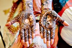 An Indian bride with her hands painted