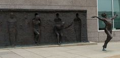 Sculptor Zenos Frudakis has forged this public sculpture to signify the notion of struggle for achievement and to break free — a feeling that is undoubtedly felt ubiquitously by people around the world. The composition shows a figure moving left to right, each time one step closer to freedom, and was constructed in 2001 as part of the headquarters of a pharmaceutical company in Philadelphia.