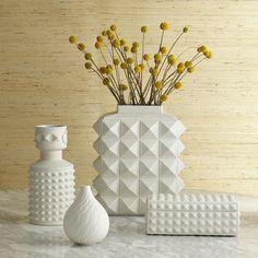 Charade Block Studded Vase - Porcelain - H 33 cm Matte white by Jonathan Adler