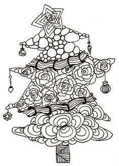 Printable DIY Zentangle Christmas Tree card 5x7 pdf from Kauai Hawaii Mele Kalikimaka Christmas doodle black white zentangle inspired art