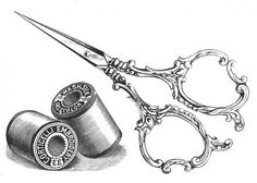 Forbici d'epoca e cotone  tatuaggio temporaneo di WildLifeDream