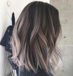Choppy Brown And Gray Balayage Lob